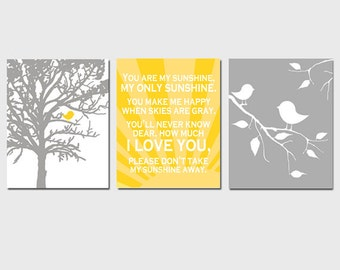 Baby Bird Sunshine Trio - Set of Three 11x14 Nursery Prints - You Are My Sunshine - CHOOSE YOUR COLORS - Shown in Yellow, Gray