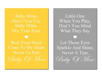 Baby Mine - Set of Two 5x7 Nursery Art Prints - Dumbo Song Lyrics - Choose Your Colors - Shown in Yellow and Gray