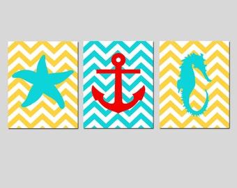 Chevron Beach Nautical Trio - Set of Three 11x14 Prints - Starfish, Seahorse, Anchor, Wheel Silhouette - CHOOSE YOUR COLORS
