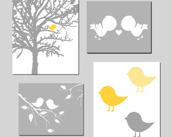 Modern Nursery Prints - Baby Bird Quad - Set of Four Prints - 8x10 and 11x14 Mix - CHOOSE YOUR COLORS - Shown in Gray, Yellow, and More