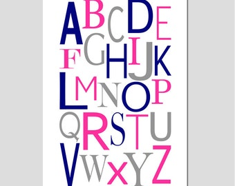 Modern Alphabet - 11x17 Print - Kids Wall Art for Nursery, Bedroom, Playroom - CHOOSE YOUR COLORS - Shown in Hot Pink, Navy Blue, Gray