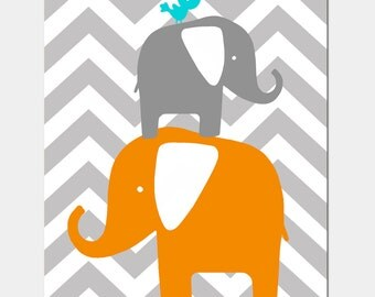 Modern Chevron Elephant Bird Silhouette Print - 8x10 Chevron Zig Zag - CHOOSE YOUR COLORS -  Elephants and Baby Bird