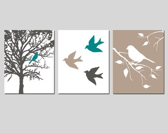Nursery Art Prints - Modern Bird Trio - Set of Three 8x10 Prints - CHOOSE YOUR COLORS - Shown in Gunmetal Gray, Taupe, Teal and More