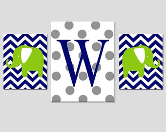 Nursery Art Trio - Elephants and Initial - Chevron, Stripe, Polka Dot - Set of Three Prints - 8x10 and 11x14 - Choose Your Colors