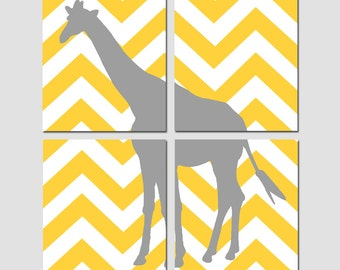 Chevron Giraffe - Nursery Art Quad - Set of Four 8x10 Prints - CHOOSE YOUR COLORS - Shown in Yellow, Gray, Hot Pink, and More