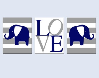 Elephant Love Trio - Set of Three 11x14 Nursery Prints - Choose Your Colors and Design - Chevron, Stripe, Polka Dot