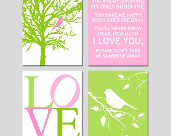 Pink Green Nursery Art Quad - Set of Four 11x14 Prints - You Are My Sunshine, Love, Bird in a Tree, Bird on a Branch - CHOOSE YOUR COLORS