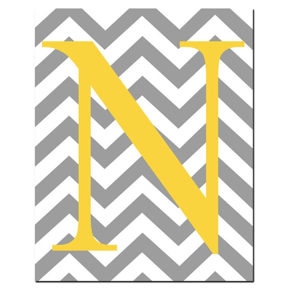 Chevron Monogram Initial Letter Nursery Art - 8x10 Print - Choose Your Letter and Colors - Chevron Design Pattern - Shown in Gray, Yellow