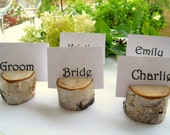 25 Charming Birch Wood Natural Wooden Place Card Holder Rounds for Weddings, Meetings, School Events, Artists, or Craft Shows