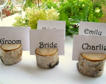 50 Birch Wood Place Card Holders, Birch Trees,  for Weddings, Meetings, School Events, Artists, or Craft Shows