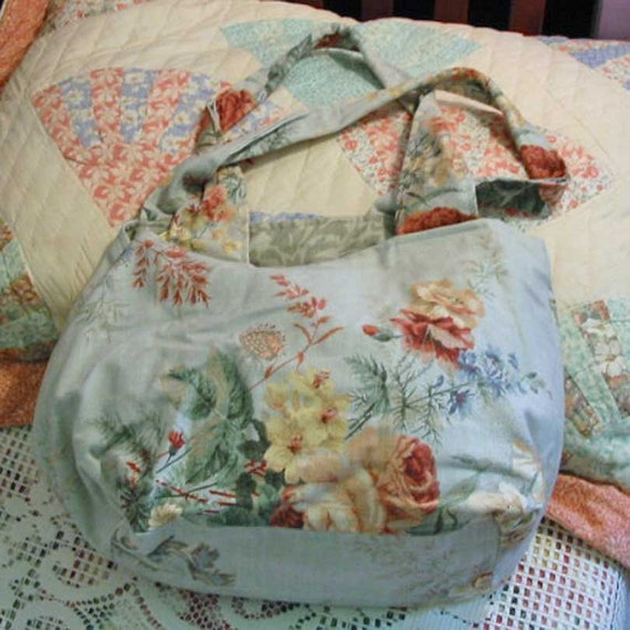 Soft GARDEN PURSE & Sweet WAVERLY Cream Dogwood Print, Pink Roses Red Leaves on Pastel Gray Green Cotton, Roomy Shoulder Bag, Padded Handles