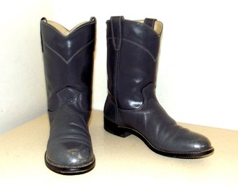 Vintage Grey leather Texas brand cowboy boots size 4.5 B