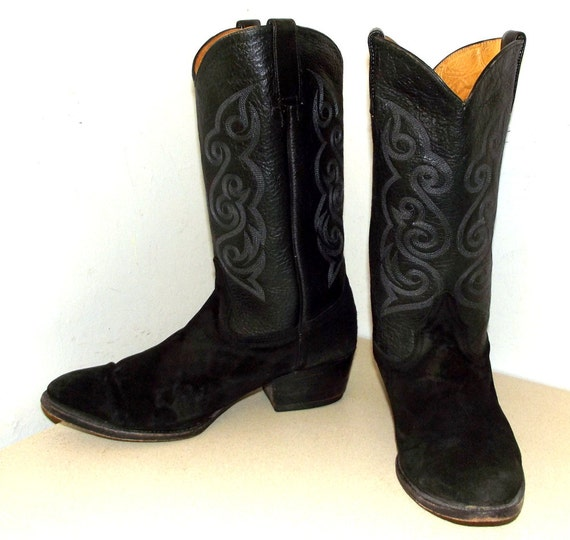 Vintage Black Leather and Suede Cowboy boots