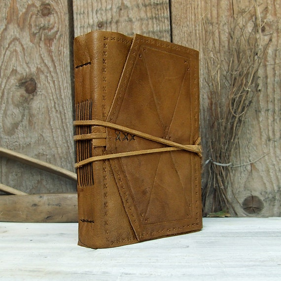 Handmade Leather Journal, antiqued light brown leather, tea-stained pages: The Naturalist