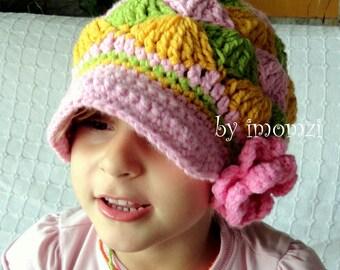 Newsboy Beanie for Kids, Toddler Girl Beanie, Crochet Visor Hat, Baby Girl Hat, Baby Newsboy Hat