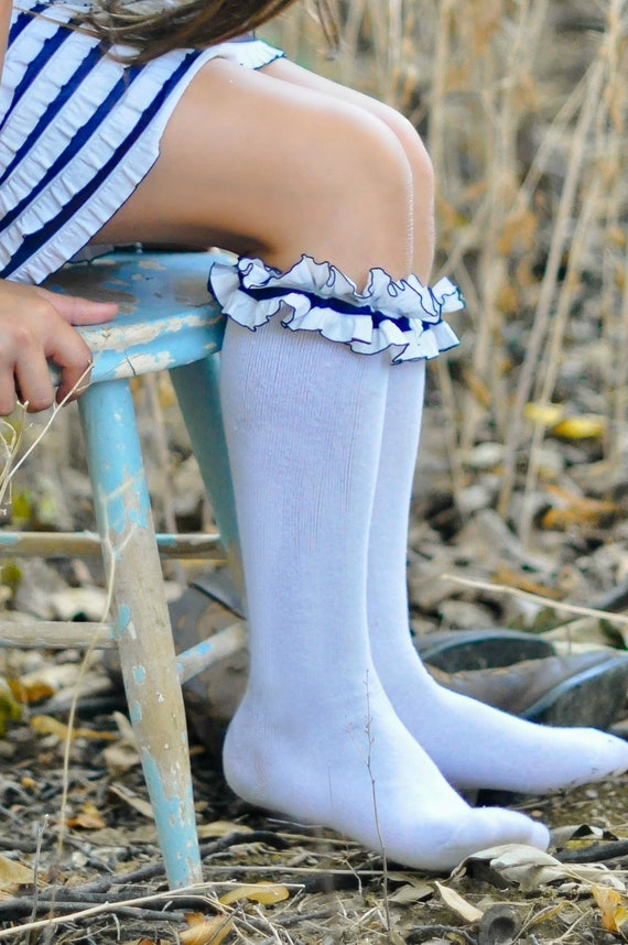 Sassy Sailor Ruffle Knee Socks (Other Colors Avail)
