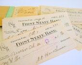 Antique Ephemera Bank Checks 1916 Altered Art Supply