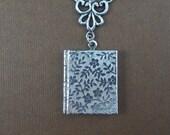 Silver Book Locket, Victorian Inspired, Forget Me Not,  Motifs Floral Locket, Weddings Brides Locket- EMMA