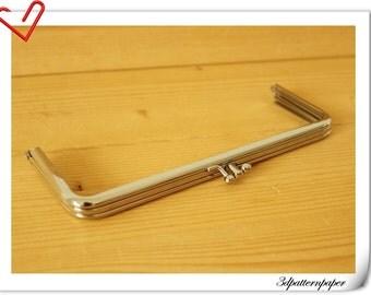 19.5cm x 7cm  Silver double  purse frame D64