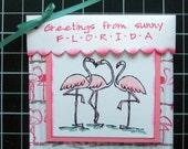 Pink Flamingo Tea Bag Holder, Handmade PaperArt, Stampin Up, Constant Comment Tea, Friendship gift, Humorous Gift,