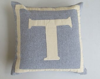 gray and off white monogrammed pillow cover 14x14 inch custom made it colour of your choice