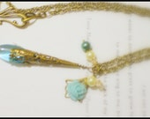 Pure Beauty II Vintage Style Necklace With Elongated Czech Glass Teardrop and Glass Pearl and Flower Accents