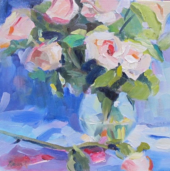 "small floral, original oil painting 'Roses' by Linda Hunt roses, 8X8"""