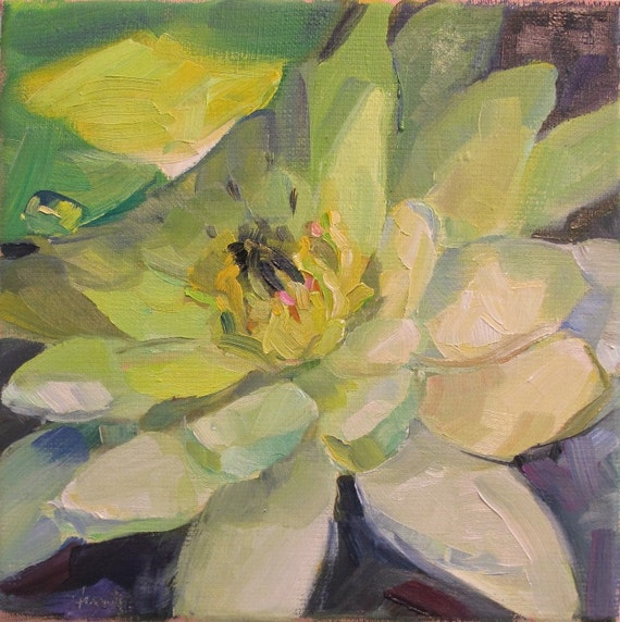 SOLD floral, alla prima, pond, water plant,'Waterlily' by Linda Hunt 8X8  on RESERVE for C.