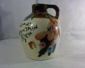 FREE SHIPPING vintage Jug Moonshine Whiskey Moon Shine Pottery Hillbilly Hill Billy (Vault 15)