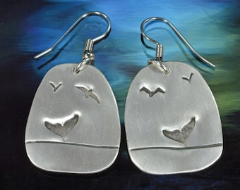 Dangle Earrings- Diving Whale, Sterling Silver