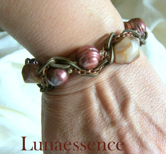 Bracelet Jasper Nugget and Pearl Brass Copper Chain Woven