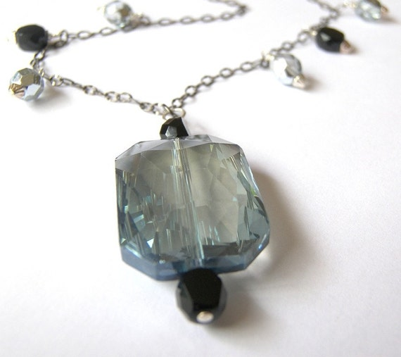 Spectacular Blueberry Crystal Pendant Necklace