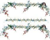 Beautiful Vintage Chic Shabby Forget Me Nots Border Waterslide Water Slide Miniature Decals vf-149