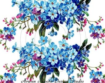 Beautiful Vintage Chic Shabby Forget Me Nots Spray Waterslide Water Slide Miniature Decals vf-148