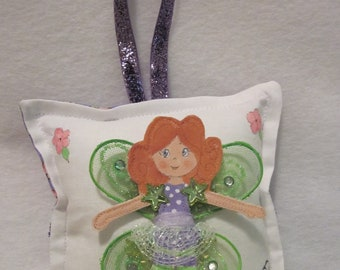Girl Tooth Fairy Pillow - Hand Painted - Cloth Fairy - Made To Order