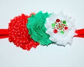 Girls Red Green CHRISTMAS Headband Chiffon Flower Headband Newborn Baby Girls Holiday