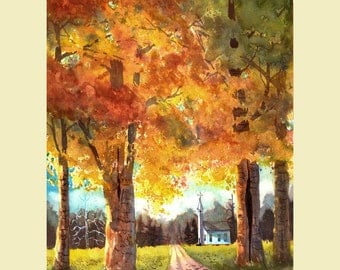 Church painting watercolor landscape Painting PRINT Country beech Christian Giclee