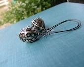 Antique Silver Bali Drop Oval Resin Earrings by MyBella