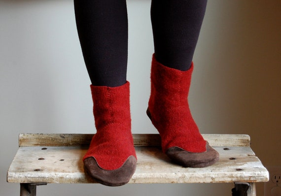 Women Slipper Boots, Eco Friendly, Women size 8 wide, Red Rover, SALE