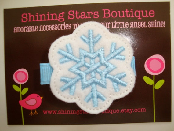 Felt Hair Clip - Baby Girl Hair Accessories - White And Blue Felt Winter Snowflake Boutique Embroidered Hair Clippie