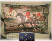 Handmade ENGLISH FOXHUNT Large Horse Pillow Quality Upholstery Fabric