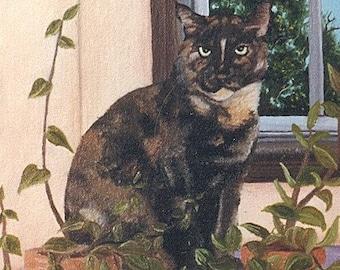 """Print Sale....Feline Art Matted Print 8 x 10 from Original Painting """"TORTOISE CAT"""" by artist Ann Becker"""