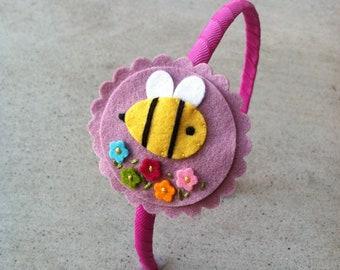 Bumblebee Felt Headband, Felt Hair Clip, Girls Hair Clip