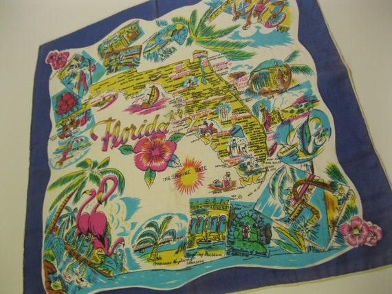 Vintage silk Florida handkerchief hankie with pink flamingos and palm trees - 1940s