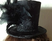 Black Brocade Mini Top Hat with Feathers