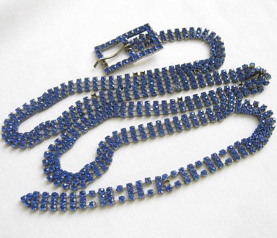 Vintage Pave Rhinestone Sapphire Blue Belt