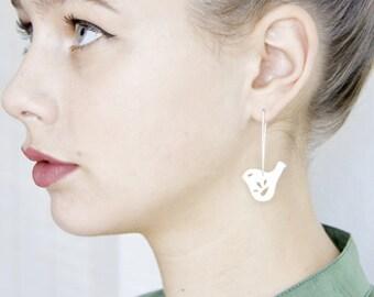 Sterling Silver Drop Earrings with Mod Jay Bird