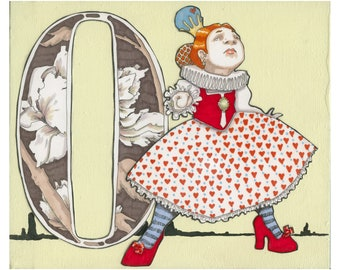O is for Off with her Head- 9x7.5 Wonderland Alphabet Print