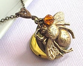 Bumble Bee Locket Necklace -  Brass