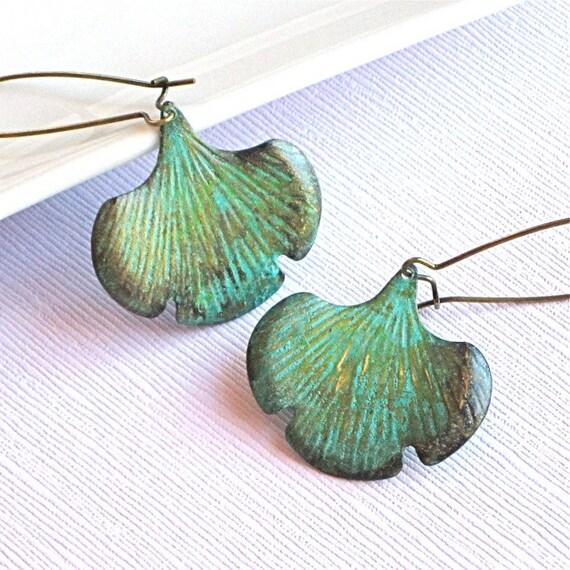 Verdigris Ginkgo Leaf Earrings - Brass
